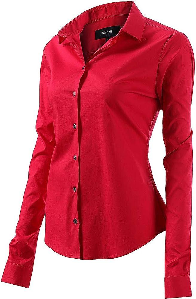 Fly hawk camicia da donna a maniche lunghe 97% cotone 3% poliestere camicetta casual rossa