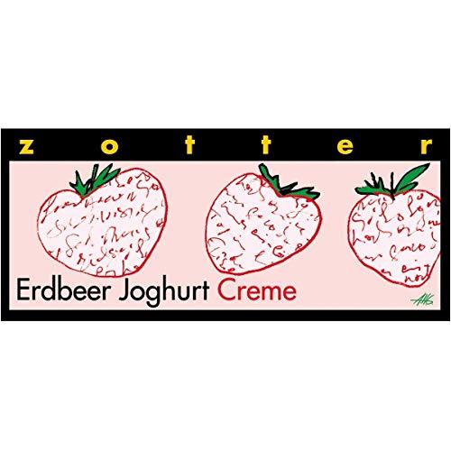Zotter Joghurtschokolade mit Erdbeercreme, handgeschöpft (70 g) - Bio