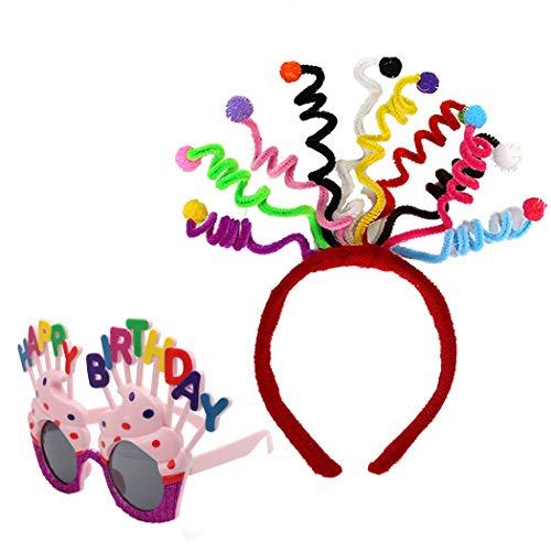 She's Shining Juego de disfraces para mujeres y niñas, cumpleaños, fiesta de San Valentín, diadema de antena colorida y gafas de sol con forma de pastel divertidas