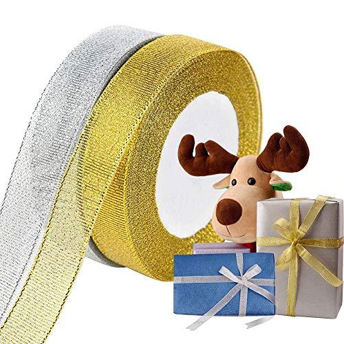 2 Rollos Cinta Navideña para Envolver Regalos, Cinta Navideña de Organza para Manualidades, Cintas Navideñas Anchas Doradas y Plateadas para Navidad árbol Coronas Tartas Lazos Decor (2cm, 50yardas)