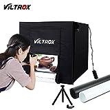 VILTROX Studio Photo Kit Boîte de Lumière avec éclairage LED, Tente Cube Pliable 60x60x60cm Inclus 2 Fonds(Blanc et Noir)