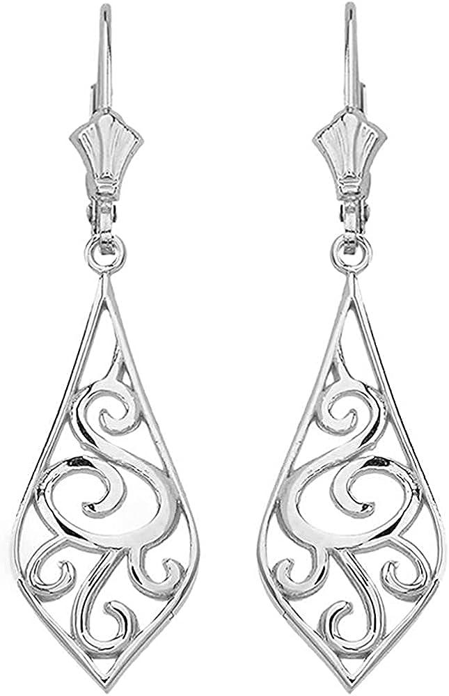14K Yellow, White, or Rose Gold Art Nouveau Swirl Teardrop Dangle Leverback Earrings - Choice of Metal & Size