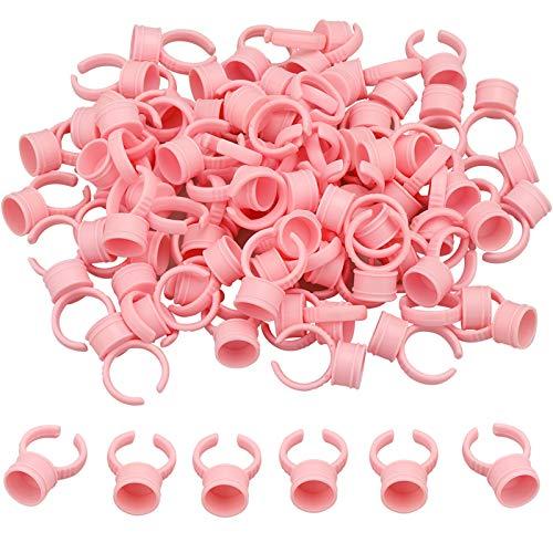 100 Titolare Colla Anelli,anelli per pigmenti, piccoli anelli per trucco usa e getta, strumento di bellezza, per tatuaggi, extension per ciglia, pigmenti