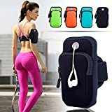 ANJ Outdoors Premium Elastic Running Armband for iPhone X, 8 Plus, 7, Galaxy Phones | Water Resistant | Large Capacity Upper Arm Band to Hold Money, Cards and Keys |Ideal Running Phone Holder (Black)