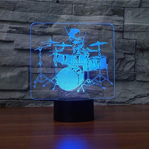 hqhqhq Drum Set Lámpara LED 3D Rock and Roll Luz de Noche 3D 7 Lámparas de Mesa táctiles Que cambian de Color Instrumentos Musicales de acrílico Lámpara de Escritorio con Mando a Distancia -1314