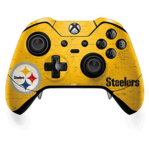 Skinit Decal Gaming Skin Compatible with Xbox One Elite Controller - Officially Licensed NFL Pittsburgh Steelers - Alternate Distressed Design