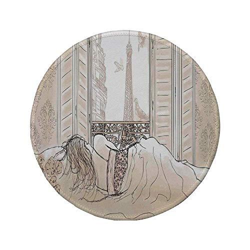 Rutschfreies Gummi-rundes Mauspad Pariser Dekor Pariser Frau die mit dem Blick auf den Eiffelturm vom Fenster aus Romance Skecthy Modern Art Creme 7,87 'x 7,87' x 3 mm schläft