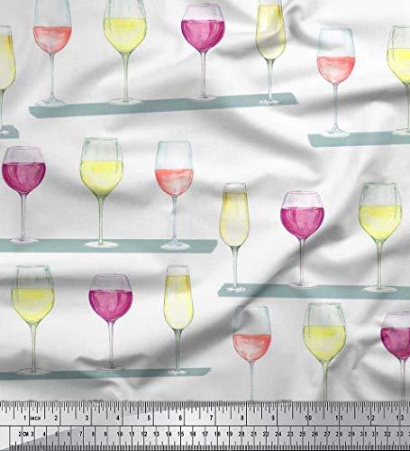 Soimoi Blanc Mousse Georgette en Tissu Verre de vin Bar Tissu Imprime 1 Metre 42 Pouce Large