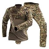 Kalaga Uniforme Militar Al Aire Libre Camisa De Combate TáCtico Ropa del EjéRcito Tops Airsoft Multicam Camuflaje Pantalones De Caza Rodilleras CP L