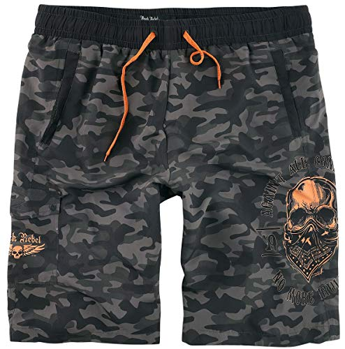 Rock Rebel by EMP Badeshorts mit Camouflagemuster und knalligen Prints Männer Badeshort schwarz XL