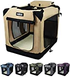 EliteField 3-Door Folding Soft Dog Crate, Indoor & Outdoor Pet Home, Multiple Sizes and Colors Available (20' L x 14' W x 14' H, Beige)