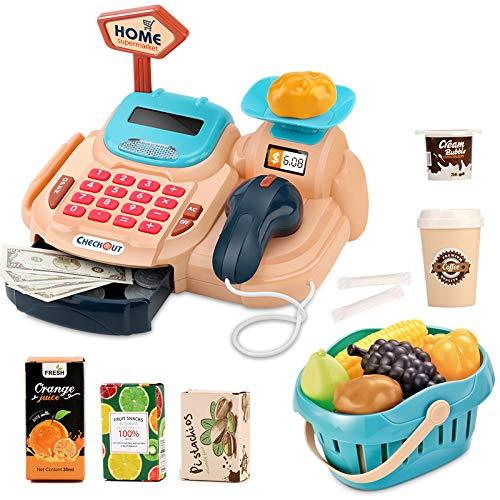 Sotodik 26 Stück Kasse Kinder Rollenspiel Supermarkt Spielzeug Kaufladen Kaufmannsladen Zubehör Registrierkasse Supermarktkasse mit Geld,Lebensmittel Geschenk für Kinder