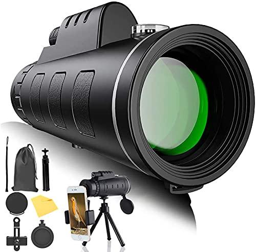Monocular Starscope - Monocular de alta potencia HD con soporte para smartphone y trípode impermeable para camping, senderismo, observación de aves, viajes, caza