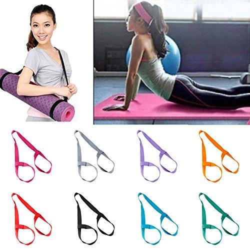 JYS365 Portable Durable Fitness Yoga Mat Belt Rope Elastic Shoulder Carrier Strap Two-Way Sling Dark Purple