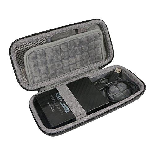 Duro Viajar Caso Cubrir para WD My Passport 1TB 2TB 3TB 4TB - Disco Duro Portátil y Software de Copia de Seguridad Automática PC por co2CREA (Black-Large)