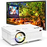 QKK Projector with 100 Inch Projector Screen, Mini Portable Projector 1080P Compatible