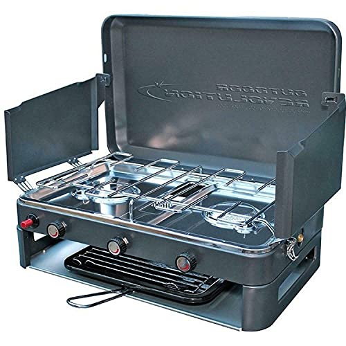 Outdoor Revolution Twin Burner Gas Camping Stove & Grill Works on...