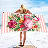 Bonsai Tree Flamingo Microfiber Beach Towel, Tropical Flowers Women Quick Dry Beach Blanket Oversized 31' x 63', Summer Hawaii Leaves Personalized Sand Proof Bath Towels Gifts for Travel