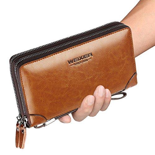 WEIXIER Mens Clutch Bag Handbag Leather Zipper Long Wallet Business Hand Clutch Phone Holder, Light Brown, 7.87in4.72in1.96in