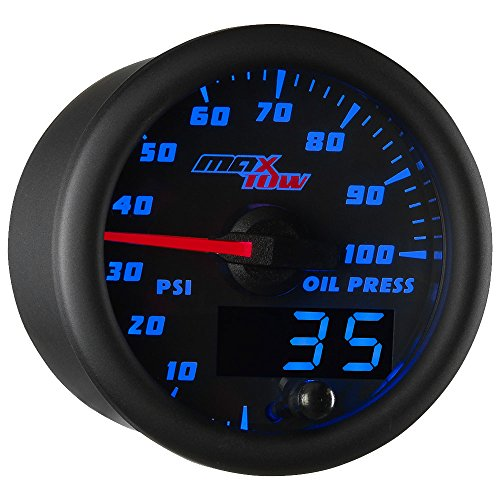 MaxTow Double Vision 100 PSI Oil Pressure Gauge Kit - Includes Electronic Sensor - Black Gauge Face - Blue LED Illuminated Dial - Analog & Digital Readouts - for Trucks - 2-1 16  52mm