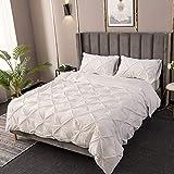 BH-JJSMGS Plissee Bettbezug, Seidenblume Volltonfarbe Kissenbezug Bettwäsche EU-Double: 200 * 200cm weiß