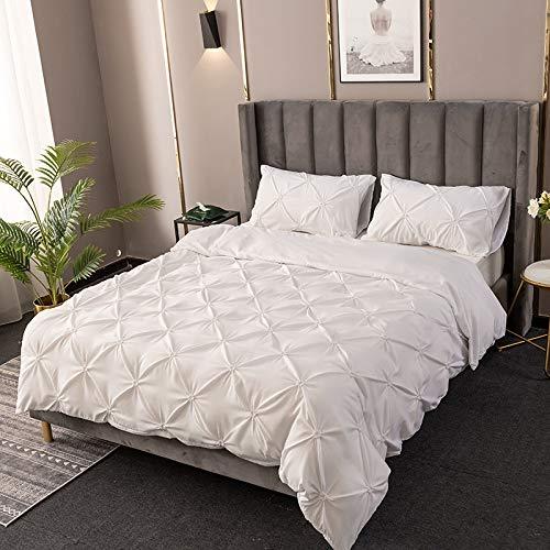 BH-JJSMGS Plissee Bettbezug, Seidenblume Volltonfarbe Kissenbezug Bettwäsche AU-Single: 150 * 200cm weiß