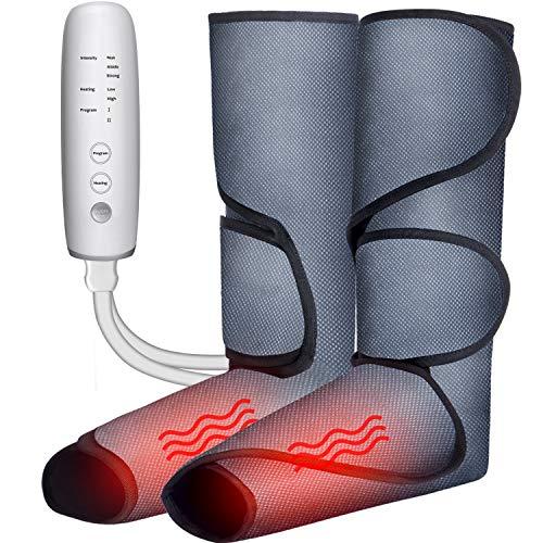 Massagegerät Beine, Fußmassagegerät Luftdruckmassage Elektrisch mit Heizfunktion, Fuß-Waden-Massagegerät 2 Modi und 3 Intensitäten, Venenmassagegerät Muskelentspannung