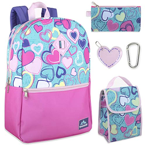 Trail maker 5 in 1 Full Size Character School Backpack and Lunch Bag Set For Girls (Heart)