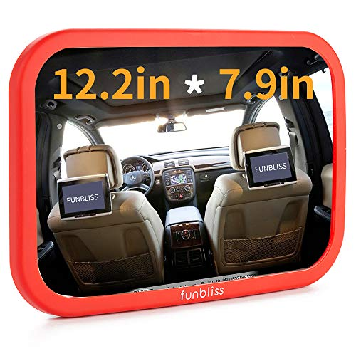 Funbliss Baby Mirror for Car - Largest and Most Stable Backseat Mirror - Best Newborn Car Seat Accessories- Safe,Fully Assembled,Secure and Shatterproof(Red)