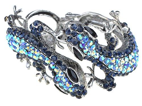 ALILANG Silber Gold Grün Blau Topaz Strass Bunt Eidechse Gecko Zwillinge Paar Armreif Manschette Armband