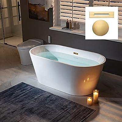 "WOODBRIDGE BG 59"" Freestanding Bathtub Contemporary Soaking Tub, White Acrylic (Brushed Gold Drain/Overflow),B0014 G Drain &O"