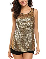 Gold #1A Sleeveless Shimmer Camisole Vest Sequin Tank Top