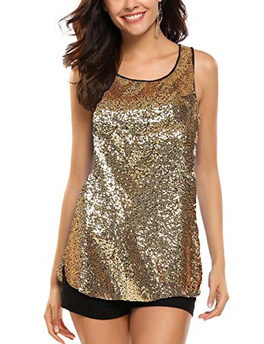 Zeagoo Women's Sleeveless Sparkle Shimmer Camisole Loose Sequined Vest Tank Tops,1-gold2,Small