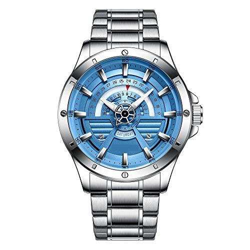 Eantpure Militar Deportivo Analógico,Reloj de Cuarzo Resistente al Agua, Reloj de Hombre con Calendario de Banda de Acero, Reloj de Negocios-D,Fashion Business Watch