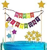 iZoeL Décoration de gâteaux Arc-en-Ciel, Joyeux Anniversaire Cake Topper gâteau bannière Rose Or Ruban Jaune Étoile Gâteau Topper pour Enfant Bébé Douche Fête Anniversaire Décorations