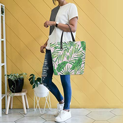 GIGIJY - Bolso de mano con diseño de hojas de palma, tamaño grande para mujer