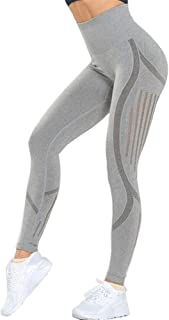 Jinqiuyuan Women's High Waist Gym Leggings Sport Fitness Yoga Pants Sports Tights Woman Push Up Elastic Seamless Leggings (Color : Grey, Size : M)