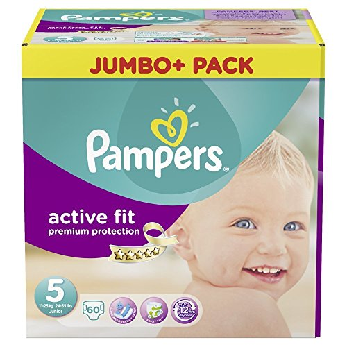 Pampers Active Fit Größe 5 Junior 11-25kg Jumbo Plus Pack, 2er Pack (2 x 60 Windeln)