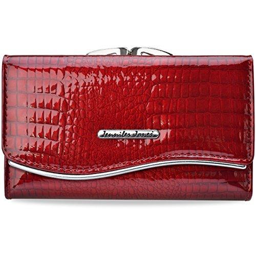 lackiertes Damen-Portemonnaie Ledergeldbörse mit Bügelverschluss (Rot)