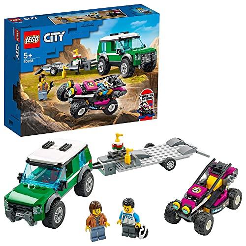 LEGO 60288 City Furgoneta de Transporte del Buggy de Carreras, Coche Todoterreno de Juguete para Niños +5 Años, con 2 Figuras de Conductores