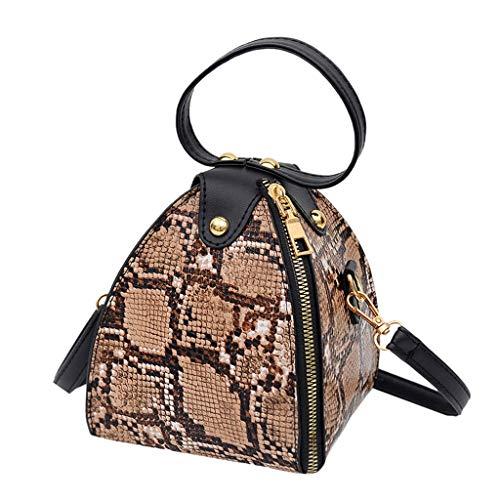 Bolso de mano de gran capacidad para mujer, diseño de serpiente, cremallera lateral con asa superior redonda