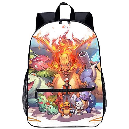 Visionpz Pokemon Sac à dos scolaire Pokémon Animation Sac à dos d impression 3D Sac à dos décontracté Sac à dos pour ordinateur portable Sac à dos en toile Sac à dos cartable classique