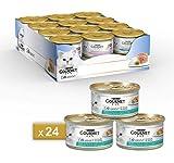 Purina Gourmet Diamant - Fiocchi di tonno naturale, Cibo Umido per Gatti Adulti, Ricette in Salsa, Confezione da 24 lattine x 85g