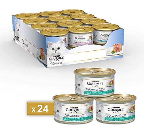 PURINA GOURMET DIAMANT Umido Gatto Squisite Falde di Polpa di Tonno in Salsa- 24 lattine da 85g ciascuna (confezione da 24x85g)