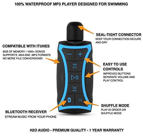 H2O Audio - Reproductor de música MP3 Stream 100% Impermeable con Bluetooth y Auriculares sumergibles para natación, Deportes acuáticos, Cable Corto, 8 GB