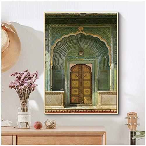 nr HD Nordic poster canvas schilderij groene deur grotere grootte afdrukken Home Decoration muurkunst foto's voor woonkamer Decoratie-50x70cm Geen lijst