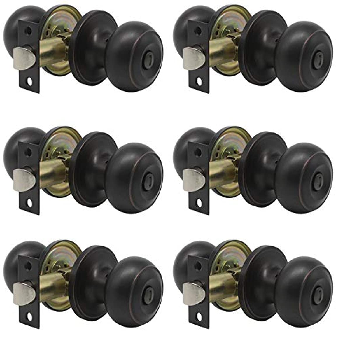 Probrico Privacy Door Knob Handles Bed and Bath Keyless Leversets Oil Rubbed Bronze Lockset 6 Pack