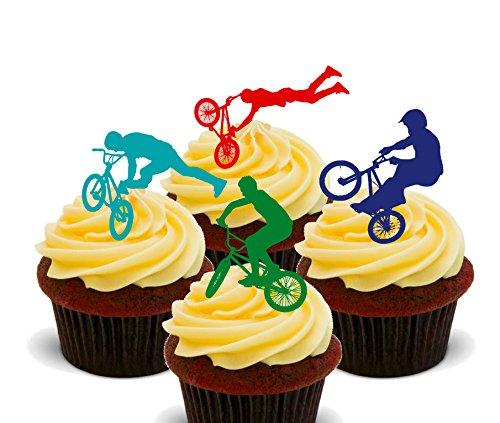 Made4You Essbare Cupcake-Verzierungen, BMX-Design, stehende Tortendekorationen aus Essoblaten