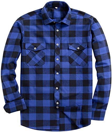 Siliteelon - Camisa de franela de cuadros de manga larga para hombre