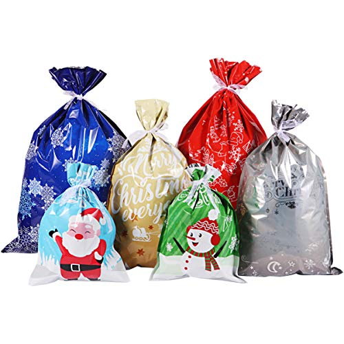 Christmas Bags Large Size Christmas Wrapping Assorted Styles Christmas Goody Bags with Ribbon Ties for Christmas Party Xmas Holiday 30PCS